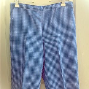 Brand New Alfred Dunner Blue Checked Capris 16